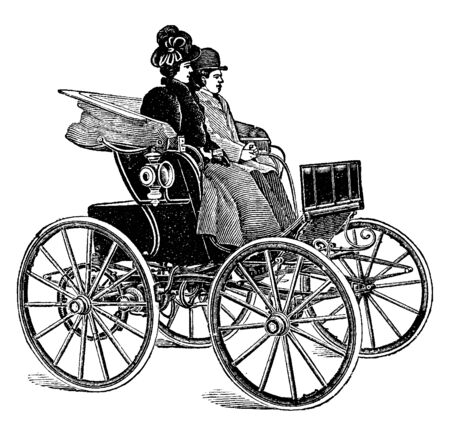Electric Motor Phaeton is a carriage with an electrical motor, vintage line drawing or engraving illustration.