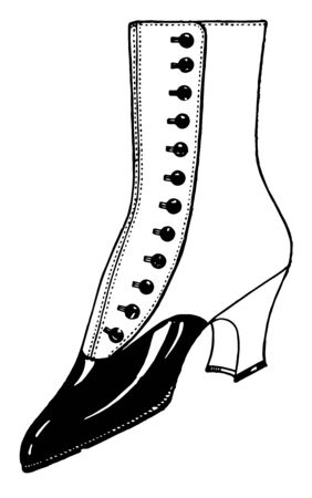 Button to Up Shoes was a Similar to boots vintage line drawing or engraving illustration.