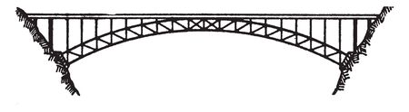 Bridge Ribbed Arch is an arch bridge in which the outward directed horizontal forces of the arch are borne as tension by a chord tying both arch ends, vintage line drawing or engraving illustration.