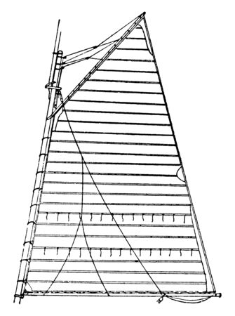 Cross Cut Sail is a sail in which the canvas seams run fore and aft instead of up and down, vintage line drawing or engraving illustration.