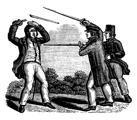 Three men fighting with swords, vintage line drawing or engraving illustration