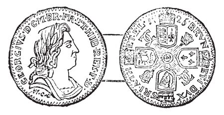 This illustration represents Coin of George I, vintage line drawing or engraving illustration.