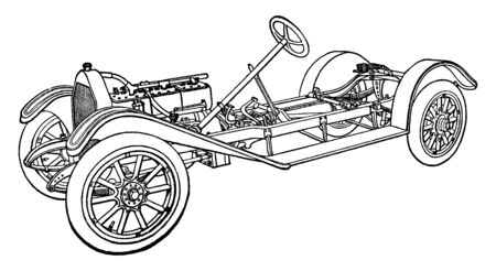 This illustration represents Building an Automobile Step 22 is Fenders, vintage line drawing or engraving illustration. 向量圖像