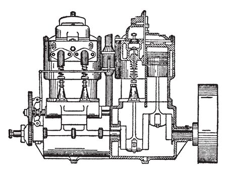 Gas Engine Internal Combustion Engine which runs on a gas fuel  such as coal gas  producer gas, vintage line drawing or engraving illustration.