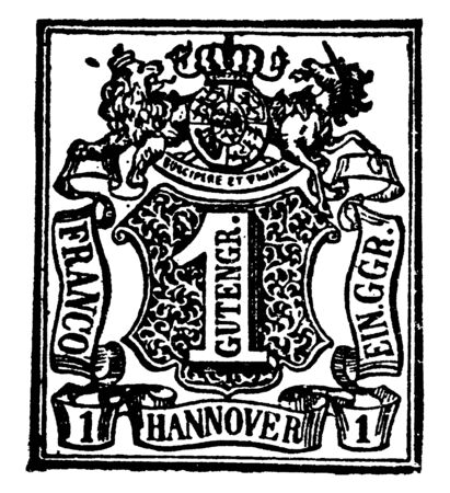 Hanover 1 Gutengr Stamp in 1850 is a French term referring to an intricate network of fine lines, vintage line drawing or engraving illustration.