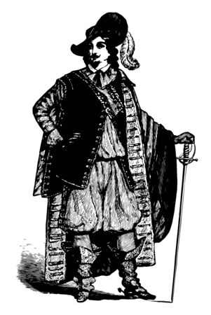 Sieur de Monts c. 1558 to 1628 he was a French merchant explorer and colonizer vintage line drawing or engraving illustration