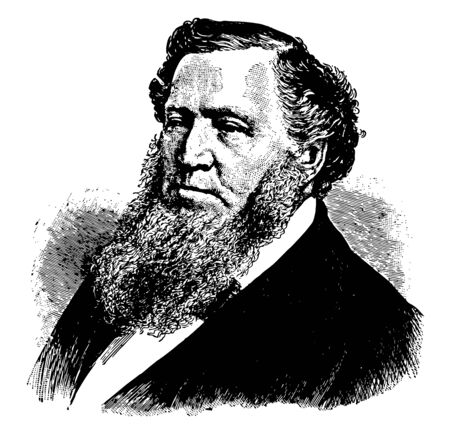 Brigham Young 1801 to 1877 he was an American leader politician and the first governor of the Utah Territory vintage line drawing or engraving illustration
