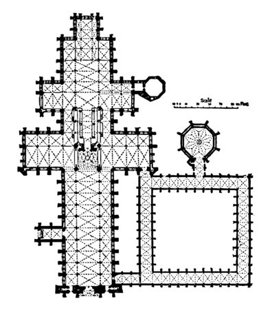 Plan of Salisbury Cathedral 1075–1092 The square eastern termination the less ambitious height simple buttress–system English Gothic cathedral vintage line drawing or engraving illustration.
