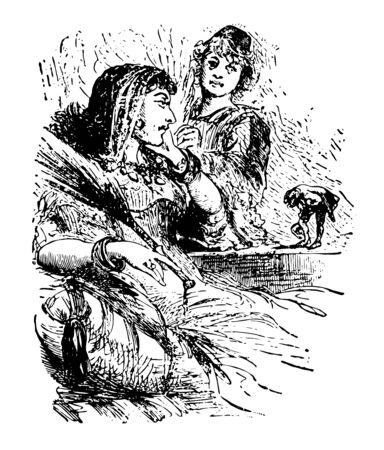 Gulliver with Queen this scene shows a little a man on table and bowing to Giant woman who is sitting near the table one standing person in background vintage line drawing or engraving illustration