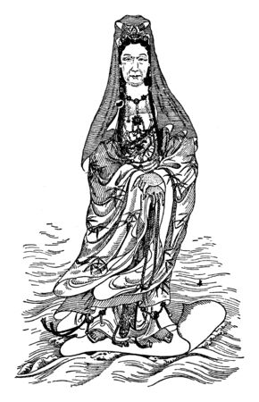 Empress Dowager of China is represented as a goddess of mercy, vintage line drawing or engraving illustration.