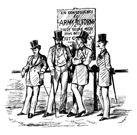 Four men leaning up fence and smoking, vintage line drawing or engraving illustration Illusztráció