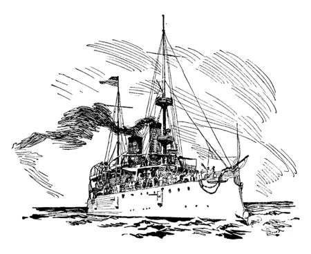 United States Protected Cruiser USS Olympia was a protected cruiser in the United States Navy during the Spanish American War, vintage line drawing or engraving illustration.