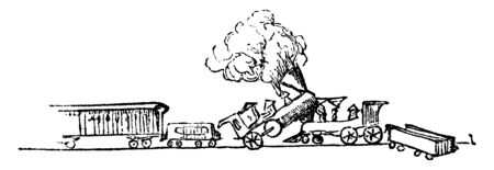 Train Accident is a type of disaster involving one or more trains, vintage line drawing or engraving illustration.