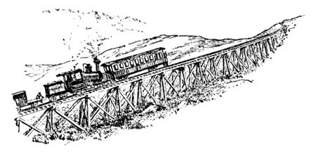 Railroad Up Mount Washington can go in an ordinary train to the foot of this mountain, vintage line drawing or engraving illustration.
