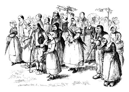 Group of people looking in one direction, vintage line drawing or engraving illustration Banque d'images - 133236566