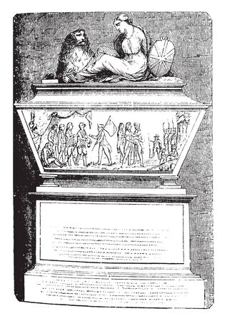 John Andres monument in Westminster Abbey,vintage line drawing or engraving illustration.
