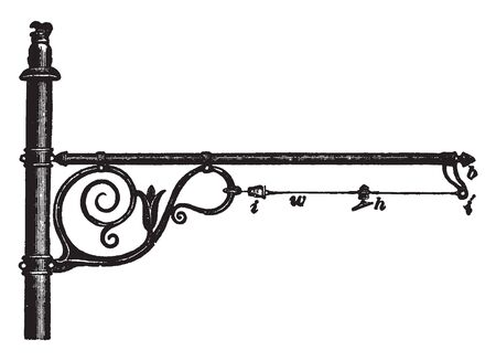 Side Bracket Construction is an example of a support that holds the trolley wire and reduces the spark created from the passing wheel, vintage line drawing or engraving illustration.