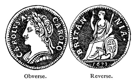Obverse and Reverse Sides of Farthing of Charles II was an English coin equal to one quarter of a penny, vintage line drawing or engraving illustration. Иллюстрация