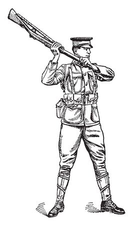 A soldier with rifle, vintage line drawing or engraving illustration Illustration