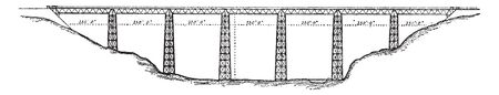 Crumlin Viaduct was a railway viaduct located above the village of Crumlin in South Wales, vintage line drawing or engraving illustration.  イラスト・ベクター素材