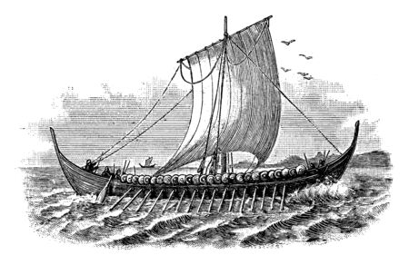 Norse Ship was marine vessel of unique design of the tenth century, vintage line drawing or engraving illustration.