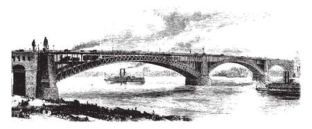 St Louis Bridge is a steel combined road and railway bridge over the Mississippi River connecting the cities of St Louis Missouri and East St Louis, vintage line drawing or engraving illustration. Ilustrace