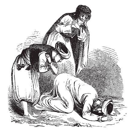 Three men bowing, vintage line drawing or engraving illustration 일러스트