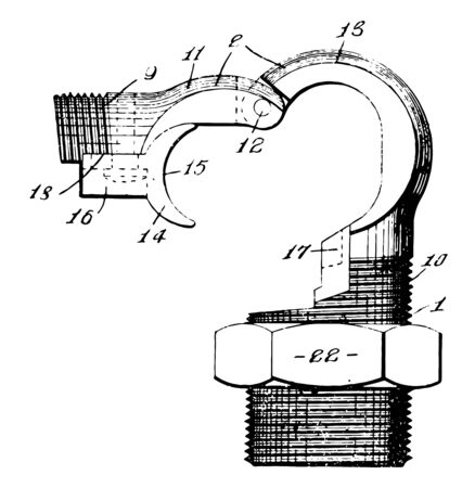 Electrical Coupling which is a device used to connect two shafts together at their ends vintage line drawing or engraving illustration.