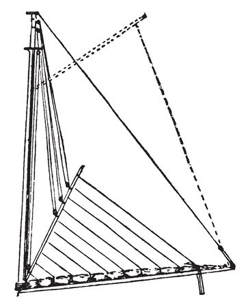 Balance Reef is a reefband crossing a sail diagonally, vintage line drawing or engraving illustration. Stock fotó - 132822471
