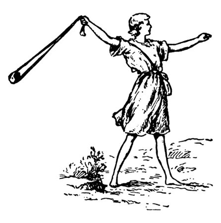 A man using slingshot, vintage line drawing or engraving illustration