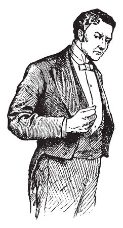 A man expressing malice with fists clenched, vintage line drawing or engraving illustration
