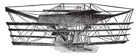 Maximum Flying Machine is a device for enabling man to navigate the air, vintage line drawing or engraving illustration.