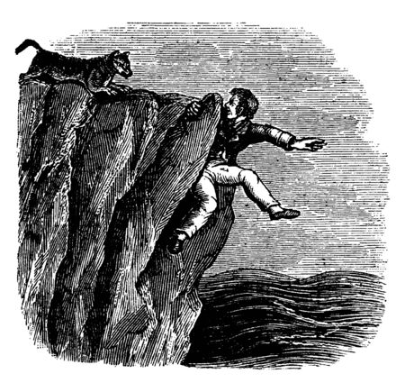 A man taking support of cliff and wolf chasing him, vintage line drawing or engraving illustration