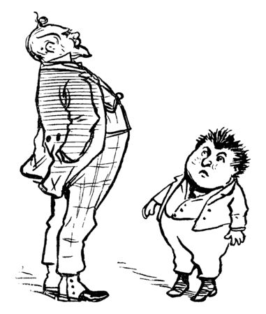 A man talking to little boy standing in front of him, vintage line drawing or engraving illustration