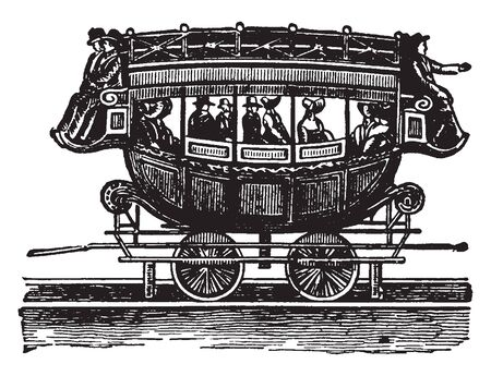 Railway Coach in the old fashioned railroad coach use for transporting few passengers, vintage line drawing or engraving illustration.