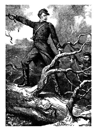 A soldier raising right hand, other soldiers with rifle behind him, vintage line drawing or engraving illustration Çizim