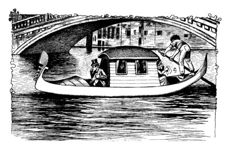 Boat Under Bridge where a human powered boat with three passengers, vintage line drawing or engraving illustration.