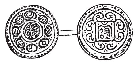 Gorkha Coin which is rubbing from coin in British Museum, vintage line drawing or engraving illustration.