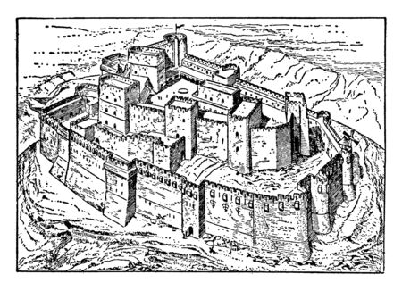 Krak des Chevaliers was the headquarters of the Knights Hospitaller during the Crusades, vintage line drawing or engraving illustration.