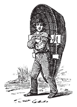 Coracle which is a fisherman with a coracle boat on his back, vintage line drawing or engraving illustration.