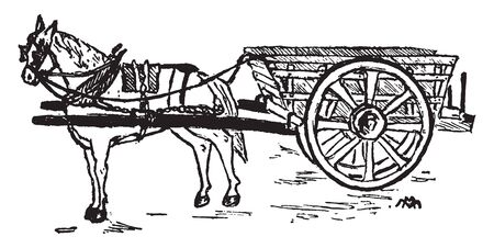 Horse and Cart where a horse drawn vehicle is a mechanized piece of equipment pulled by one horse or by a team of horses, vintage line drawing or engraving illustration. Illustration
