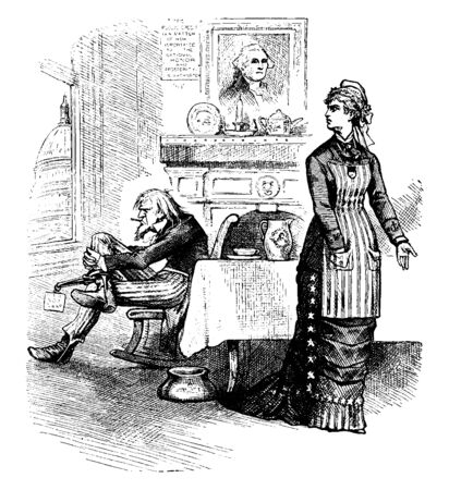 A man sitting at table and woman standing near table, vintage line drawing or engraving illustration