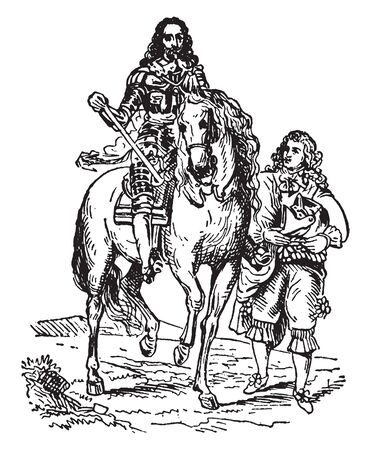 Charles I and armor bearer was one who held a sword and shield and who stood beside their leader offering protection from any enemy that rose up against them, vintage line drawing or engraving illustration. Иллюстрация