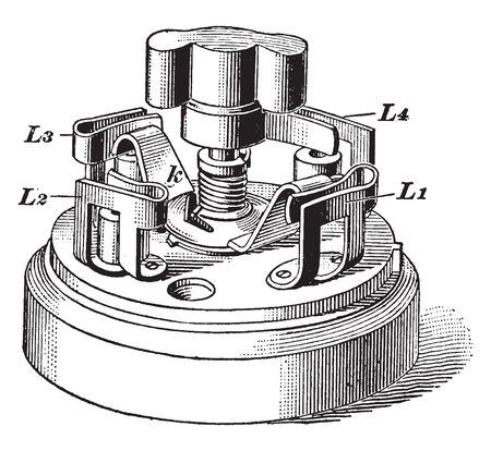 Three way Switch that was used to cut the headlights of a trolley and subsequently turn on the taillights, vintage line drawing or engraving illustration.