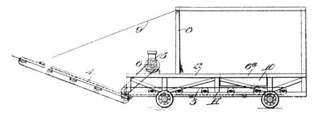 Portable Loading Trap vehicle on which heavy equipment can be stored and transported, vintage line drawing or engraving illustration.