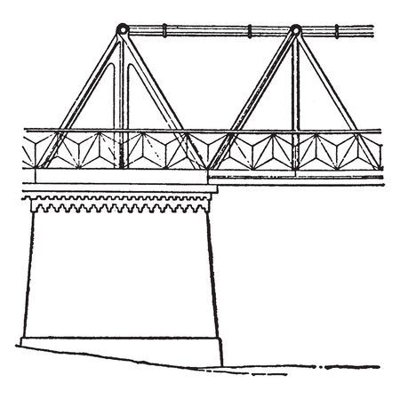 Newark Dyke Bridge was the first major bridge to use a cast iron Warren truss configuration, vintage line drawing or engraving illustration.