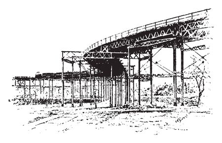 Manhattan Railway Company was an elevated railway company in Manhattan and the Bronx, vintage line drawing or engraving illustration.
