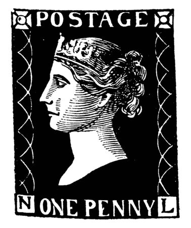 First Adhesive Penny Postage Stamp was used without change from 1840 to 1870, vintage line drawing or engraving illustration.