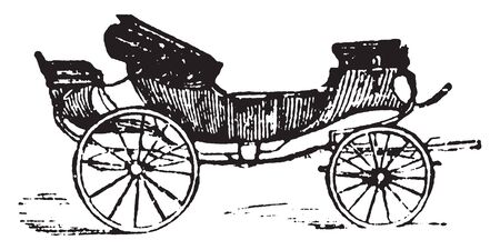 Britska is a long carriage with a calash or movable top and constructed to afford space for reclining on a journey, vintage line drawing or engraving illustration.