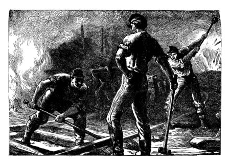 Railroad Workers where a group of men working on the railroad, vintage line drawing or engraving illustration.